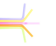 Colorful straw on white background. Straw purple, yellow, pink, orange and green Put on a white background Royalty Free Stock Images