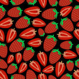Colorful strawberries fruits dark seamless pattern eps10 Stock Image