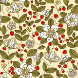 Colorful strawberry floral seamless pattern Royalty Free Stock Photos