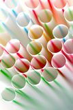 Colorful straws. Red, green, blue, brown, white Stock Photos