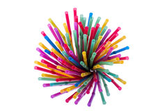 Colorful straws. Arranged colorful straws in a glass Stock Photography