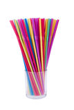 Colorful straws. Arranged colorful straws in a glass Stock Images