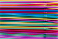 Colorful straws. Arranged colorful straws in a glass stock image