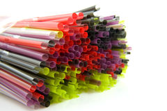 Colorful straws in closeup Stock Photos