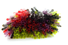 Colorful straws in closeup Stock Images