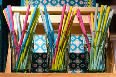 Colorful straws for a cocktail stock image