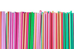 Colorful straws isolated on white Stock Photo