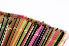 Colorful straws in line Royalty Free Stock Images