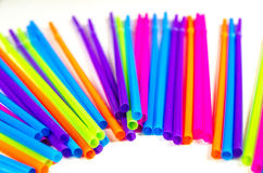 Colorful straws for party drinks Stock Images