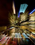 Colorful streaks of lights from a city building Stock Images