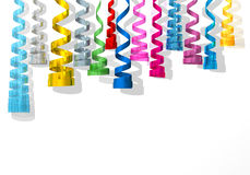 Colorful streamers carnival. Colorful twisted streamers shiny and beautiful Royalty Free Stock Photo