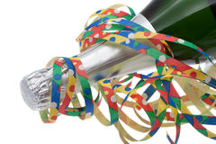 Colorful streamers and champagne Royalty Free Stock Photo