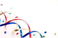 Colorful streamers and confetti Stock Image