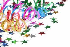 Colorful streamers and confetti royalty free stock photos