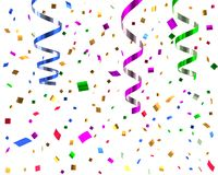 Streamers and confetti background 3d illustration. Colorful streamers and confetti background 3d illustration Royalty Free Stock Image