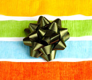 Colorful Streamers and a Green Ribbon Bow. In the center stock photos