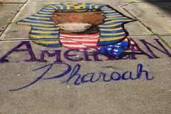 Colorful street art on downtown Saratoga sidewalk,August 29th,2015 Royalty Free Stock Photos