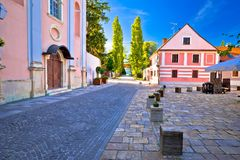 Colorful street of baroque town Varazdin view Royalty Free Stock Photo