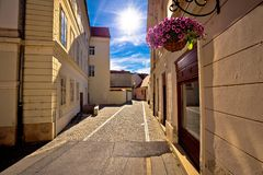 Colorful street of baroque town Varazdin view Royalty Free Stock Photos