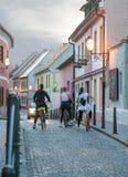 Colorful street in baroque town Varazdin view, tourist destination, northern Croatia. Varazdin Baroque Evenings. royalty free stock photos
