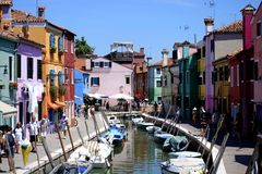 Colorful street in Burano, Venice stock image