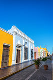 Colorful Street in Campeche, Mexico. Vertical view of colorful colonial architecture in Campeche, Mexico Stock Image
