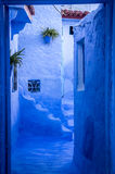 Colorful street in Chefchaouen. The blue street of Chefchaouen, Morocco Royalty Free Stock Photos