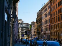Street with colorful historic houses- Rome, Italy stock photo