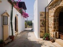 Colorful Street Cretan village Stock Photos
