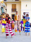 Colorful street dancers on stilts in Old Havana Royalty Free Stock Photo