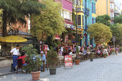 Colorful street dining in Istanbul Royalty Free Stock Image