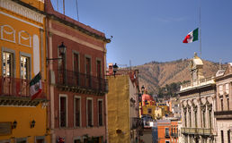 Colorful Street with Flags Guanajuato Mexico Royalty Free Stock Image