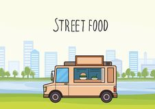Beige street-food truck on cityscape background with trees and skyscrapers. Car selling burgers and salads. Vector. Colorful street-food truck on stylized Royalty Free Stock Photography
