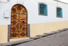 Colorful street fragment. Old Medina, Tangier Stock Photos