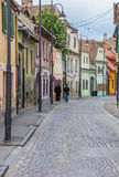Colorful street in the historical center of Sibiu Royalty Free Stock Images