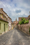 Colorful street in the historical center of Sibiu Stock Photo