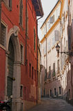 Colorful street in Italy. Colorful houses on the street in Italy Royalty Free Stock Photo