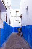 Colorful street of the Kasbah of the Udayas in Rabat, Morocco, A Royalty Free Stock Photos