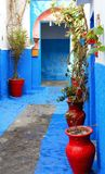 Colorful street of the Kasbah of the Udayas royalty free stock photos