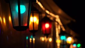 Colorful street lights stock video footage