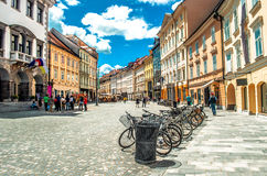 Colorful street Ljubljana summer Lubiana buildings clean urban a Stock Image
