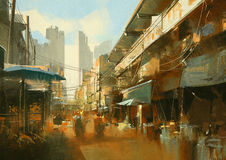 Colorful street market. Painting of colorful street market Royalty Free Stock Photos