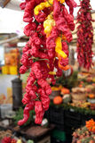 Colorful street market stalls. A lot of pepper at an outdoor market Royalty Free Stock Photo