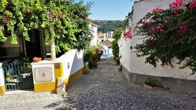 A colorful Street in the medieval town of Obidos, Portugal. stock images