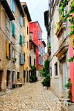 Colorful street in the Old Town of Rovinj, Croatia Royalty Free Stock Photos