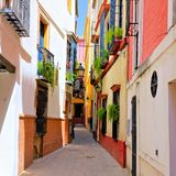 Colorful street in the old town of Sevilla, Spain Stock Image