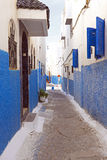 Colorful street in Rabat, Morocco, A. Colorful street of the Kasbah of the Udayas in Rabat, Morocco, Africa Royalty Free Stock Photo