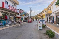 Matala street. Colorful street with  restaurants and taverns in Matala village , Crete , Greece , Europe Stock Images