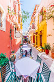 Colorful street of Rethimno Royalty Free Stock Images