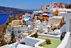 Colorful street in Santorini, Greece Stock Photo